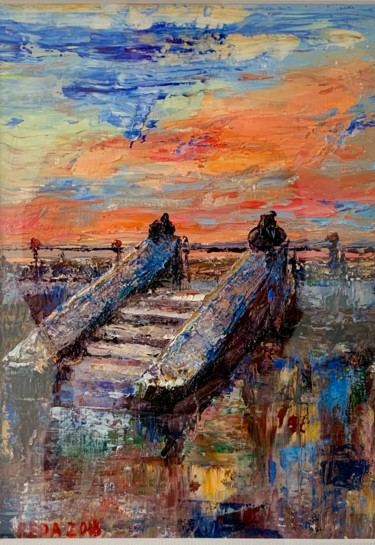 """Painting titled """"""""The stairs"""""""" by Reda Pinchera, Original Art, Oil"""