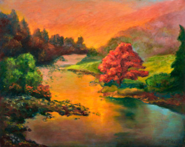 """Painting titled """"Maple Tree in Sunse…"""" by Art -Lsedra, Original Art, Oil"""