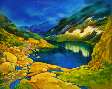 """Painting titled """"Last Snow in Alpes…"""" by Art -Lsedra, Original Art, Oil"""