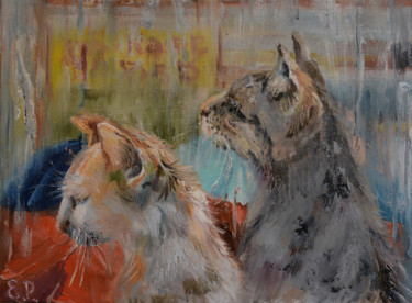 """Painting titled """"Cats. Rain."""" by Elena Reutova, Original Art, Oil Mounted on Stretcher frame"""