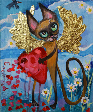 """Painting titled """"A Siamese cat with…"""" by Elena Reutova, Original Art, Acrylic Mounted on Stretcher frame"""