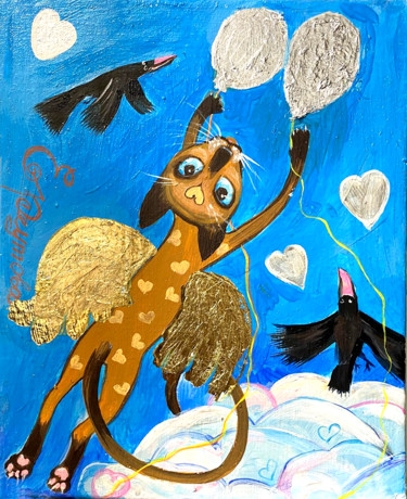 """Painting titled """"Siamese cat flies o…"""" by Elena Reutova, Original Art, Acrylic Mounted on Stretcher frame"""
