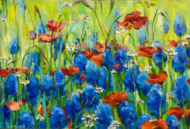 """Painting titled """"Summer wildflowers."""" by Elena Reutova, Original Art, Oil Mounted on Stretcher frame"""