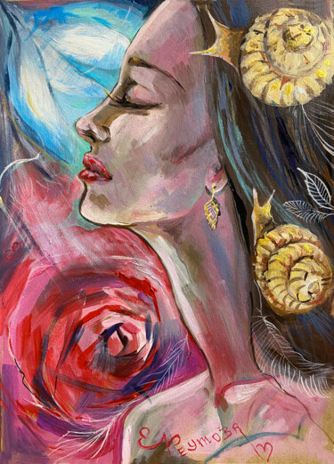 """Painting titled """"The girl with the s…"""" by Elena Reutova, Original Art, Acrylic"""