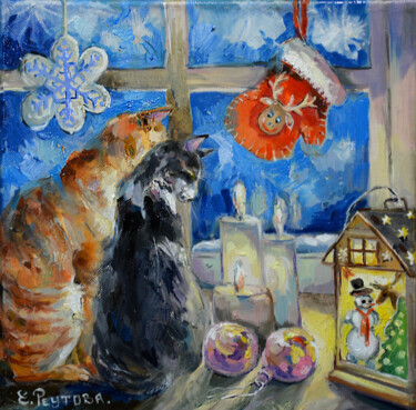 """Painting titled """"A gift for Christma…"""" by Elena Reutova, Original Art, Oil Mounted on Stretcher frame"""