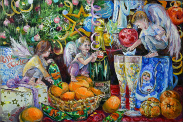 """Painting titled """"Christmas Angels at…"""" by Elena Reutova, Original Art, Oil Mounted on Stretcher frame"""