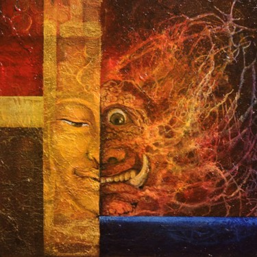 """Painting titled """"Split Thought"""" by Rex Jvala, Original Art, Acrylic Mounted on Stretcher frame"""