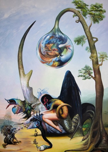 Painting, oil, surrealism, artwork by Reydel Espinosa Fernandez