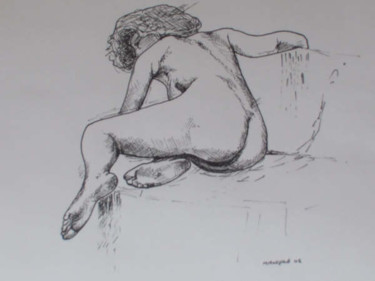 """Painting titled """"Seated Nude"""" by Richard Mangold, Original Art, Oil"""