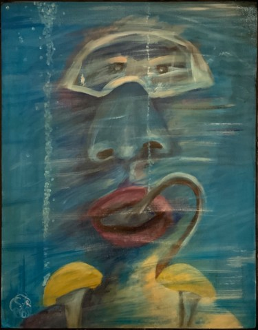 """Painting titled """"SCUBA DIVER"""" by Richard Lorimier, Original Art, Acrylic Mounted on Other rigid panel"""