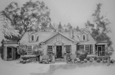 """Drawing titled """"House portrait in A…"""" by Richard Smith, Original Art,"""