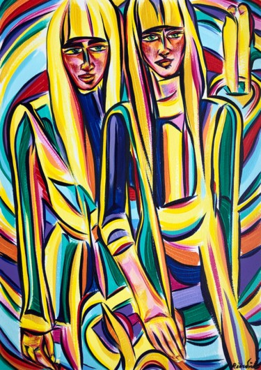 """Painting titled """"Looking within"""" by Riina Sirel, Original Art, Acrylic"""