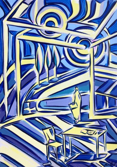 """Painting titled """"Interlinked spaces"""" by Riina Sirel, Original Art, Acrylic"""