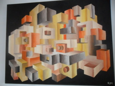 """Painting titled """"Cubic perspective"""" by Ricardo Martinez, Original Art, Oil"""