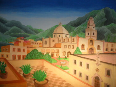 """Painting titled """"Mexican Town"""" by Ricardo Martinez, Original Art, Oil"""