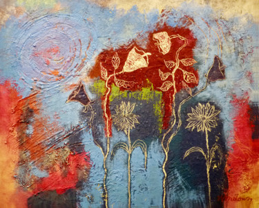 Flower Painting, oil, abstract, artwork by Robert Winslow