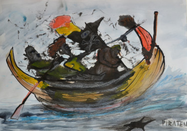 """Painting titled """"Piraten!"""" by Rob Oliver, Original Art, Ink"""