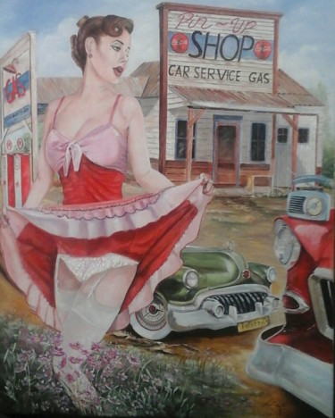 Painting, oil, expressionism, artwork by Rocha  ,Pin-Up-Style-Painting-Art