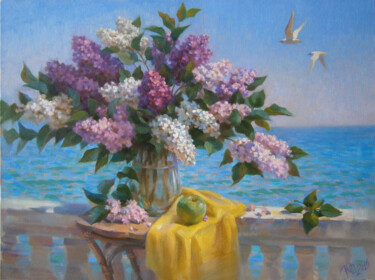 """Painting titled """"Lilac"""" by Yuriy Sidorenko, Original Art, Oil Mounted on Stretcher frame"""