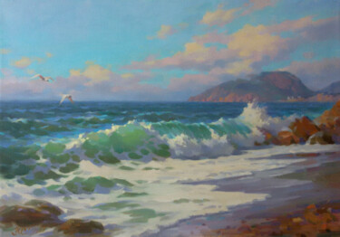 """Painting titled """"View of Ayu-Dag"""" by Yuriy Sidorenko, Original Art, Oil Mounted on Stretcher frame"""