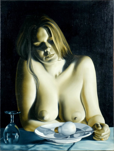 Painting, oil, hyperrealism, artwork by Roland Delcol