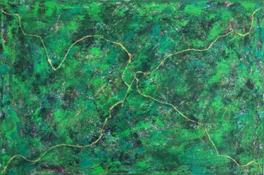 """Painting titled """"Forest Road"""" by Romain Rossi, Original Art, Acrylic Mounted on Stretcher frame"""