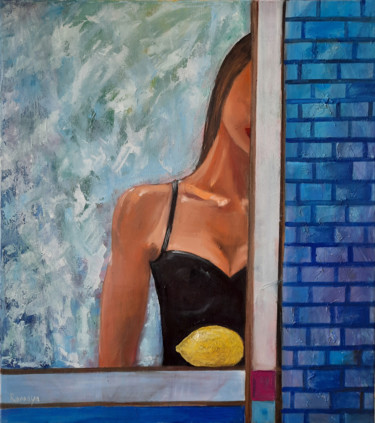 """Painting titled """"blue wall"""" by Romaya Puchman, Original Art, Oil"""