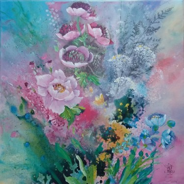 """Painting titled """"Power flower II"""" by Roselyne Rollant (rose), Original Art, Acrylic"""
