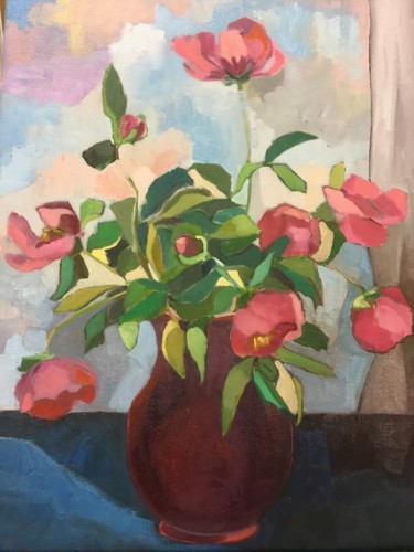 """Painting titled """"Peonies"""" by Rosemary Bonnin, Original Art, Oil"""