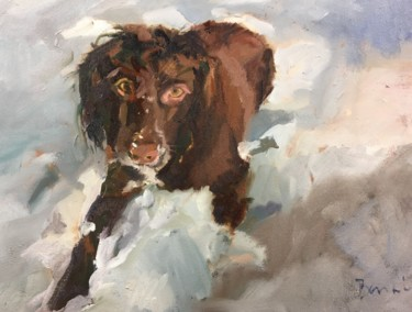 """Painting titled """"Willow in the snow"""" by Rosemary Bonnin, Original Art, Oil"""