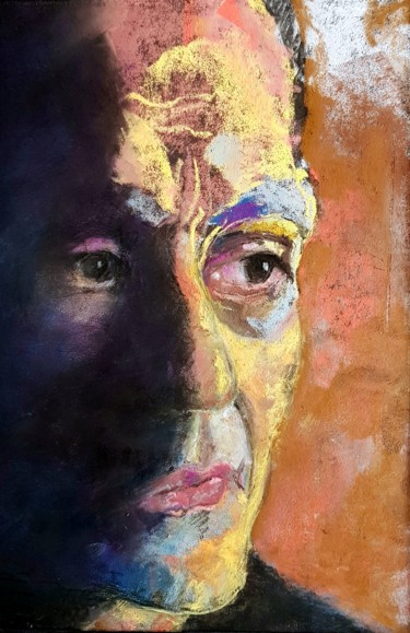 Celebrity Painting, pastel, fauvism, artwork by Rosemay