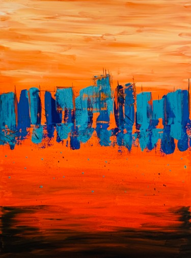 """Painting titled """"Abstract City"""" by Roxani Rohner, Original Art, Acrylic"""