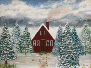 """Painting titled """"Snowy Cottage"""" by Roy Wrenn, Original Art, Acrylic"""