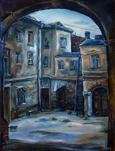 """Painting titled """"Old House on Lobach…"""" by Ruslan Sabirov, Original Art, Oil"""