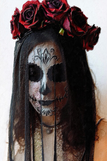 """Painting titled """"Scary Woman Bride S…"""" by Tony Rubino, Original Art, Acrylic Mounted on Stretcher frame"""