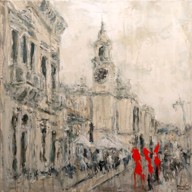 """Painting titled """"Birgu Waterfront 21…"""" by Rupert Cefai, Original Art, Acrylic Mounted on Stretcher frame"""