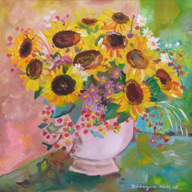 """Painting titled """"Flowers for you / D…"""" by Ruth Dubayová, Original Art, Oil"""
