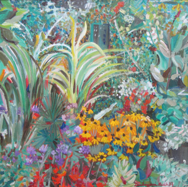 """Painting titled """"The colors of my ga…"""" by Ruth Dubayová, Original Art, Oil"""
