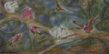 """Painting titled """"Cockatoos, Galahs a…"""" by Susan Willemse, Original Art, Acrylic Mounted on Stretcher frame"""