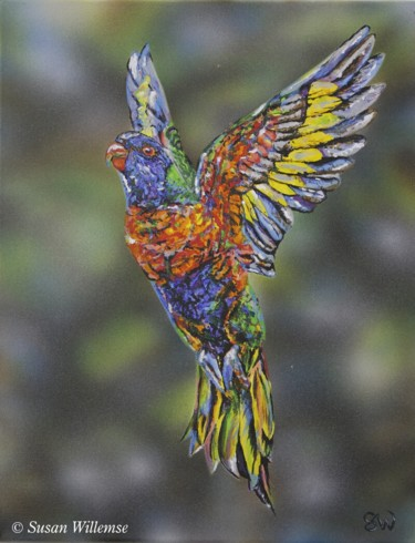 """Painting titled """"""""Hope"""" Rainbow Lori…"""" by Susan Willemse, Original Art, Acrylic Mounted on Stretcher frame"""