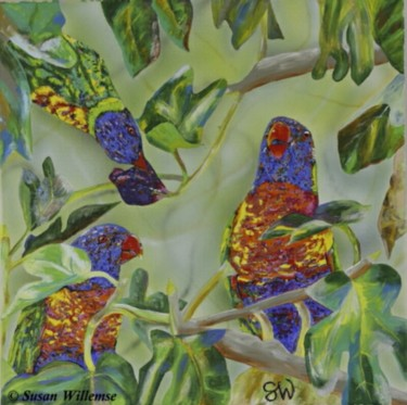 """Painting titled """"Rainbow Lorikeet in…"""" by Susan Willemse, Original Art, Acrylic Mounted on Stretcher frame"""