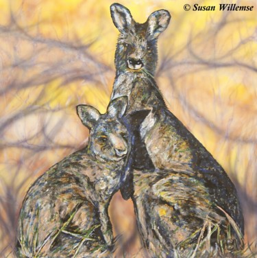 """Painting titled """"Kangaroos: The surv…"""" by Susan Willemse, Original Art, Acrylic Mounted on Stretcher frame"""