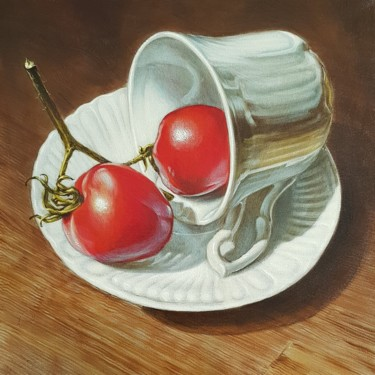 """Painting titled """"Cup of coffee with…"""" by Sabin&Catalina Chintoan, Original Art, Acrylic"""