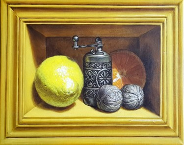 """Painting titled """"Niche with fruits"""" by Sabin&Catalina Chintoan, Original Art, Acrylic"""