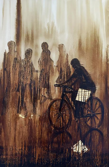 """Painting titled """"Sur les roues"""" by Sabino Puma, Original Art, Ink"""
