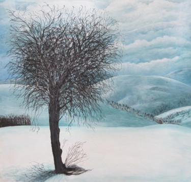 """Painting titled """"Winter"""" by Shahriar Aghakhani, Original Art, Watercolor Mounted on Cardboard"""