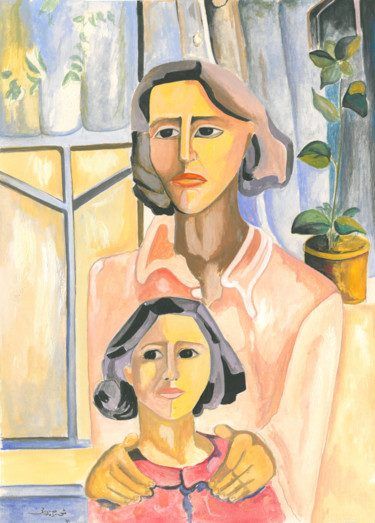 """Painting titled """"Mother's Day"""" by Shahriar Aghakhani, Original Art, Watercolor"""