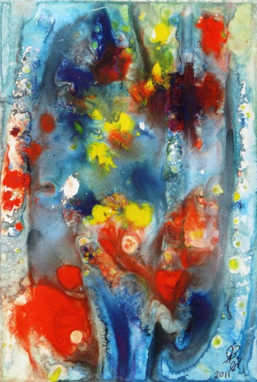 """Painting titled """"Abstract No. 415"""" by Shahriar Aghakhani, Original Art, Watercolor"""