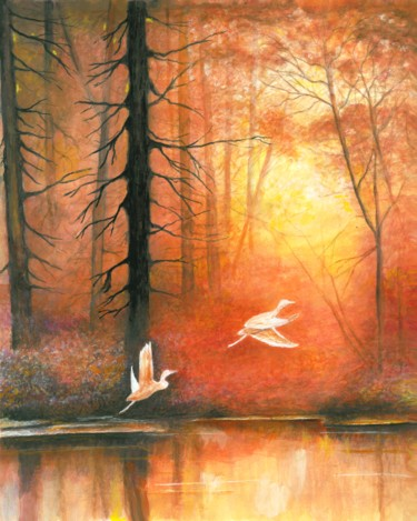 """Painting titled """"Sunset"""" by Shahriar Aghakhani, Original Art, Watercolor"""