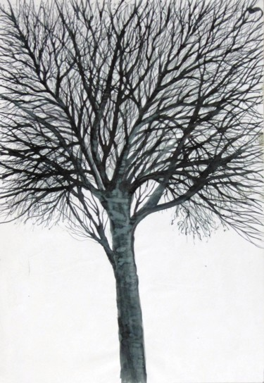 """Drawing titled """"Winter tree No. 9"""" by Shahriar Aghakhani, Original Art, Ink"""